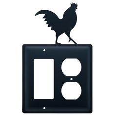 Rooster Wrought Iron Double GFI & Outlet Electrical Cover / Wall Plate | Ceardai