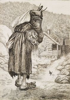 Haugkjærring, Kittelsen - Troll witch. She holds her head under her arm and her neck is made of sticks.