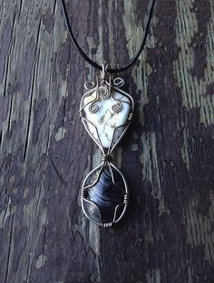Aylen-Howlite and Striped Agate semi precious gemstone wire wrapped pendant