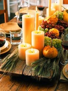 dinner party ideas & decor Thanksgiving/Fall Centerpiece- wood planks are great for a rustic table setting.Thanksgiving/Fall Centerpiece- wood planks are great for a rustic table setting. Thanksgiving Table Settings, Thanksgiving Centerpieces, Diy Thanksgiving, Holiday Tables, Christmas Tables, Decorating For Thanksgiving, Thanksgiving Pictures, Fall Table Settings, Fall Pictures