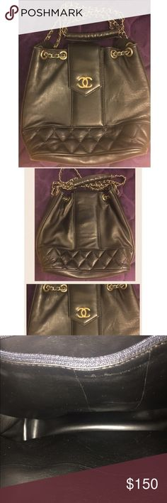 CHANEL bucket bag. CHANEL vintage bucket bag. Black leather, no serial number, chain may need to be replaced, in good condition, clean inside, nice handbag, unknown origins. Size 15 inches in height, 7 inches in width. Vintage Bags Shoulder Bags