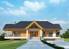 House with attic in modern style with usable area House with a large garage. Minimum size of a plot needed for building a house is m. House Plans Mansion, Cottage Style House Plans, Bungalow House Design, Cottage Plan, Modern House Plans, Classic House Design, Simple House Design, My Home Design, Modern House Design