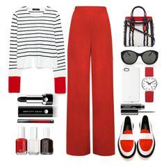 """striped sweater"" by juliehalloran ❤ liked on Polyvore featuring WearAll, Alexander McQueen, ADIEU, Victoria Beckham, SnapLight, Mondaine, MAC Cosmetics, Essie, Marc Jacobs and Kat Von D"