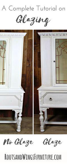 Sometimes a furniture piece is begging for more … and a flat coat of paint is just not enough!Let me take your furniture and cabinet painting to the next level by teaching you how to glaze! Full DIY tutorial by Jenni of Roots and Wings Furniture.