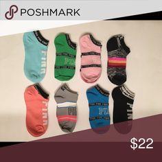 PINK ANKLE SOCKS 8- Pair of socks ( all shown above ) • Great Socks • we ship same day as order PINK Victoria's Secret Accessories Hosiery & Socks