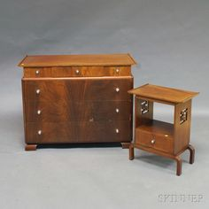 Art Deco-style Mahogany Veneer Chest of Drawers and Side Table | Sale Number 2706M, Lot Number 764 | Skinner Auctioneers