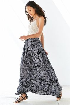 Band Of Gypsies Gauzy Printed Maxi Skirt