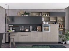 Linear fitted kitchen CLOVER 03 By Cucine Lube design Studio Ferriani Open Plan Kitchen Living Room, Loft Kitchen, Kitchen Room Design, Smart Kitchen, Kitchen Cabinet Design, Kitchen Sets, Home Decor Kitchen, Kitchen Layout, Kitchen Interior