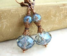 Pale Blue Earrings - faceted Czech glass beads with copper filigree in a Victorian Style