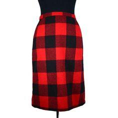 Vintage Plaid Red Black Skirt ❤ liked on Polyvore featuring skirts, black knee length skirt, red print skirt, zipper skirt, tartan skirt and vintage skirts