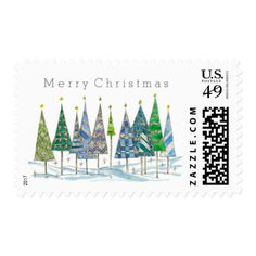 Merry Christmas Blue Trees Drawing Postage