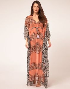 River Island Orange Ethnic Print Maxi Kaftan  £35.00