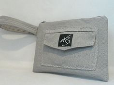 Repurposed Wristlet  Gray Shorts by KathrynBrookeDesign on Etsy, $20.00