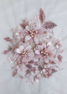Silk Ribbon Embroidery Flowers Hand-made motif with pearls twinkling balls of glass beads Tambour Embroidery, Couture Embroidery, Bead Embroidery Patterns, Embroidery Fashion, Silk Ribbon Embroidery, Hand Embroidery Designs, Embroidery Stitches, Embroidery Art, Tambour Beading