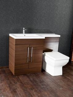 L-Shaped-Walnut-Furniture-Pack-Vanity-WC-Unit-with-1-Piece-Top-White-Gloss