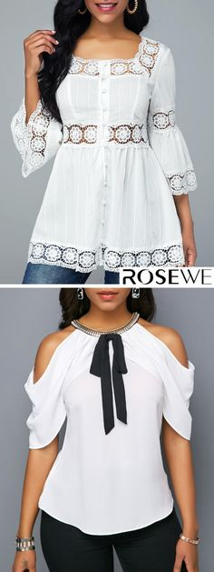 White Blouse For Sale New arrivals are hitting the site just in time to freshen up your wardrobe! Dress Outfits, Casual Outfits, Fashion Dresses, Fashion Clothes, Blouse Styles, Blouse Designs, Bluse Outfit, Latest Fashion For Women, Womens Fashion