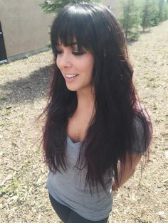 Long hairstyles. Long hair with heavy fringe. Long hair with bangs. Black to purple hair