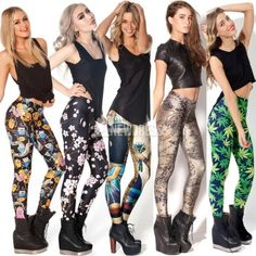 Summer Chic Design Pattern Print Women Leggings Stretch Skinny Leggings Ball Tights Pencil Pants