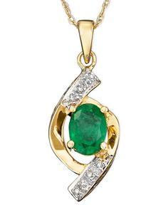 10k Gold Pendant, Emerald (5/8 ct. t.w.) and Diamond Accent Oval Swirl