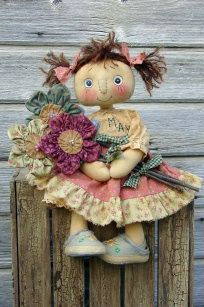 MAY'S FLOWERS-e-pattern,primitive,pattern,cloth,doll,cloth doll,doll pattern,May,flowers,monthly doll,May's doll,raggedy