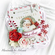Who says that you can't put florals on Christmas cards? Create your own jolly Santa Claus holiday cards with beautiful floral embellishments from Prima. April 4th, December 11, Handmade Christmas Gifts, Christmas Crafts, Handmade Gifts, Prima Planner, Travel Scrapbook Pages, Halloween 6, Beautiful Christmas Cards