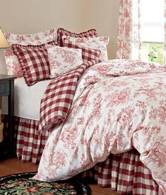 Buffalo check bed skirt- Red check bed skirt - rustic bed skirt - Ruffled bed skirt -Dust bed skirt - choose drop Want to add texture in your bedroom? This bedskirt is the right choice for you. Apart from its usefulness, it gives a charming and magne Country Bedding, Rustic Bedding, Country Curtains, French Country Bedrooms, French Country Decorating, Country French, Country Style, Blue Bedroom, Bedroom Sets