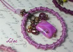 Lang bohemien stijl Macrame ketting schaduw van roze Boho door Oogle
