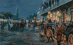 CHARLESTON AUTUMN - 1861 by Mort Kunstler. In mid-November of 1861, General Robert E. Lee was welcomed to Charleston by the port city's leading citizens. Rank and position - not fame - afforded him Charleston's genteel courtesies. He was not yet the South's most beloved figure; that glory awaited him on countless bloody fields of the future. Such acclaim - and the wartime horrors to come - could hardly be imagined amid sea breezes on a warm autumn night in Charleston.
