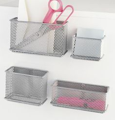 The Container Store > Silver Magnetic Mesh Bins = spice rack for fridge?