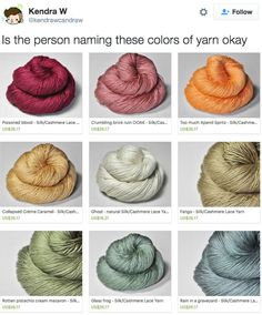"""These Yarn Colors Are More Truthful Than Any Other Color Palette You've Ever Seen [[MORE]]Normal names of colors you might chance upon at a paint store or Home Depot might sound something like """"Ocean. Really Funny Memes, Stupid Funny Memes, Funny Relatable Memes, Haha Funny, Funny Cute, Funny Posts, Funny Stuff, Funny Things, Random Stuff"""