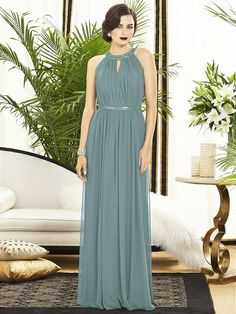 Dessy Collection Style 2887,  Color Icelandic, $248.  Full length sleeveless lux chiffon dress has covered sequin trim at neck.  Lux chiffon covered silver sequin 1 belt always matches dress. Shirred bodice and skirt.  Center back zip, 100% poly, dry clean, imported