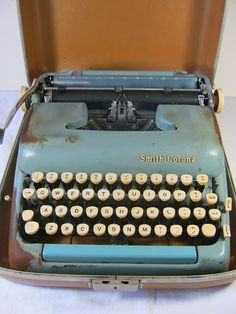Lavender Garden Cottage: Cottage Style Party and World's Longest Yard Sale Finds! Rustic blue typewriter for doing it old school style!