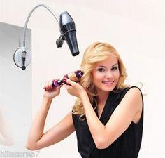 Hair Dryer Holder Adjustable Hands Free Stand Flexible Neck Bathroom Mirrow | eBay