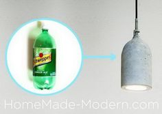 Homemade Concrete Pendant Lamp. Concrete isn't just for the infrastructure and base of certain buildings. You can use concrete in a variety of DIY projects, and infuse it into everyday products. http://hative.com/cool-diy-concrete-project-ideas/