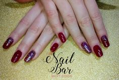 Blood red and glitter acrylic nails