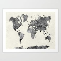World Map In Watercolor Gray Painting Abstract Splatters