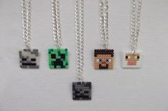 Minecraft character inspired necklaces.hama perler beads by BIGBEADSUK on Etsy