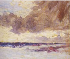 Seascape with Rain Clouds by Winston Churchill. Impressionism. cloudscape