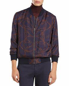 Gucci Horse-Print Silk Bomber Jacket, Cashmere Turtleneck Sweater & Stretch-Cotton Cycler Pants - Bergdorf Goodman