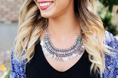 Gypsy Statement Necklace with Embroidered Pendants