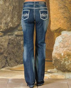 "Rock & Roll Cowgirl Dark Wash Mid Rise Boot Cut Jeans Casual Outfits for women #countrygirl #CountryFashion #countryoutfit drysdales.com #Winter2015 ""gifts for cowgirls"" ""gifts for ladies"" ""gifts for women"" ""casual clothing"" for ladies basics essentials ranch work tough resilient"