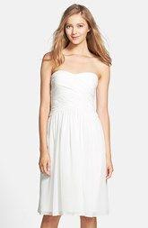Donna Morgan 'Anne' Strapless Chiffon Fit & Flare Dress