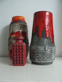 vintage 1970s Germany red/grey fat lava drip by secreteyesonly,