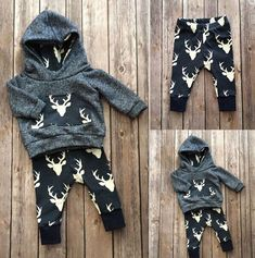 Boys Deer Themed Hoodie Shirt and Pants Set. This set is perfect for those that just love the outdoors as well as camping hunting and fishing! Be sure to visit us at www.destination-baby.com for all things baby, child and mom! Free Shipping! #babyclothes #babyboy