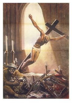 WWII anti-American propaganda postewr published by Italy showing an American soldier and a crucified Jesus in a desecrated Church Caricatures, Foto Sport, Ww2 Propaganda Posters, Political Posters, Italian Campaign, Italian Posters, American Soldiers, Illustrations And Posters, Vintage Advertisements