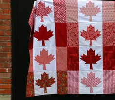 This particular quilt was started after the shooting at Parliament Hill in the fall. A strong sense of patriotism came over me, and many . Flag Quilt, Patriotic Quilts, Quilt Blocks, Canadian Quilts, Canadian Flags, Canadian Maple, Quilting Tips, Quilting Projects, Yarn Projects
