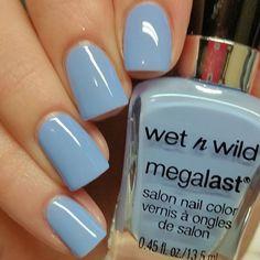 "Wet n Wild Megalast Nail Polish ""SKIPPING STONES""~light blue color"