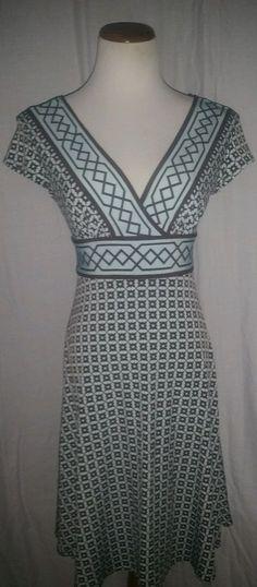Dress Barn Blue Brown Dress 6 #dressbarn #EmpireWaist #Casual