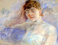 Berthe Morisot | Young Woman in White (also known as Isabelle Lemmonier), circa 1886
