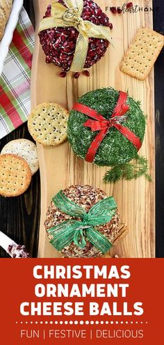 Looking for the perfect appetizer for Christmas in July entertaining? Turn the traditional into fancy Christmas Ornament Cheese Balls! This festive addition to your holiday menu comes in 3 mouthwatering flavors. Tied with a ribbon, this party food can double as decors! Best Christmas Recipes, Christmas Party Food, Christmas Appetizers, Christmas Breakfast, Christmas In July, Holiday Parties, Christmas Cookies, Christmas Ornaments, Real Food Recipes